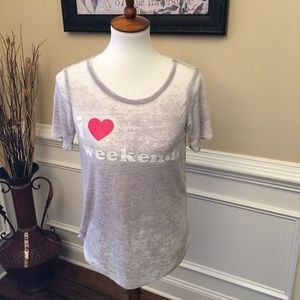 Chaser I Love Weekends Burnout T-shirt Sz S